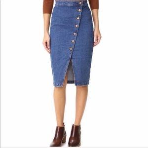 Madewell Button down denim skirt
